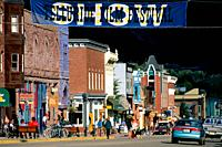 Downtown Main Street with film festival SHOW banner, Telluride, Colorado, USA