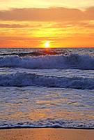 France, Gironde, Montalivet-les-Bains, sunset at Atlantic Ocean