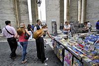 Souvenirs at St. Peter´s square. Vatican city. Rome, Italy.