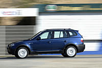 Car, BMW X3 3.0d, cross country vehicle, model year 2003_, blue moving, side view, test track