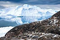 Icebergs, glacier, icefjord Disko Bay, Ilulissat, Jakobshavn, Qaasuitsup, Greenland Denmark, North America