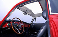 Car, Porsche 356 Carrera 2, model year 1963, red, sports car, Coupé, Coupe, red, vintage car, 1960s, sixties, interior, Cockpit, Technik, accessory, a...