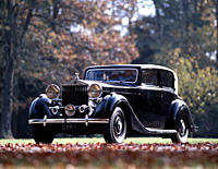 Car, Rolls Royce Phantom III, model year 1936_1939, black, sedan, vintage car, 1930s, thirties, standing, diagonal front, front view, landscape, scene...
