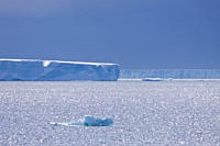 Huge tabular icebergs and smaller ice floes in the Weddell Sea, on the eastern side of the Antarctic Peninsula MORE INFO The Weddell Sea is often bloc...