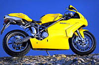 Sports motor cycle, Sportsman, Duapprox.i 749s, yellow, model year 2003, standing, upholding, side view, photographer Gargolov