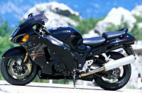 Sports motor cycle, Sportsman, Suzuki GSX 1300 R Hayabusa, black, model year 2003, standing, upholding, side view, photographer Gargolov.