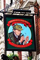 Sherlock Holmes pub sign, Northumberland Street, London, England, UK