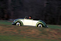 Car, VW, Volkswagen, Hebmüller convertible, vintage car, 1950s, fifties, approx. model year 1952, green_white, driving, side view, road, country road
