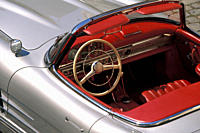 Car, Mercedes 300 SL Roadster, vintage car, model year 1957_1963, 1950s, fifties, 1960s, sixties, silver, convertible, convertible top, open, interior...