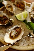 Australia, Oyster with lime slice on crushed ice