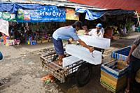 ice block transport on a food street market  Can Tho city  Mekong Delta, Vietnam, Asia