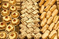 typical spanish cakes and cookies Triana Market Sevilla Andalucia Spain