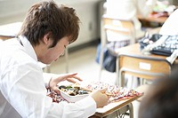 High school student eating lunch, Japan