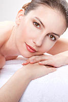 Close up of woman having spa treatment, portrait (thumbnail)