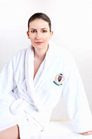 Woman wearing bathrobe, portrait