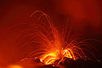 Close up of volcanic eruption