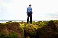 Businessman standing on rocks at ocean