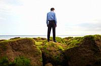 Businessman standing on rocks at ocean