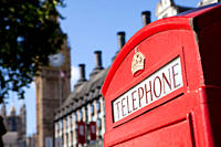 Red telephone box and Big Ben, Westminster, London (thumbnail)