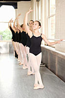 Ballerinas in pose at barre