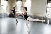 Ballerinas dancing in studio