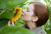 Young woman smelling sunflower