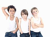 Boys 8_11 posing against white background