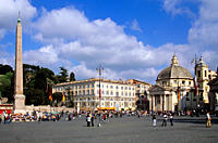 Rome _ The 1200BC Ramases II Monolith stands in Piazza del Popolo near the twin churches of Santa Maria