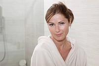 Germany, Portrait of woman in bathrobe, close up