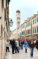 Street of the Placa and the background the San Blas Church, Old Town of Dubrovnik, Dubrovnik City, Croatia, Adriatic Sea, Mediterranean Sea.