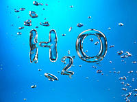 Formula of Water H2O made by oxygen bubbles, conceptual image.