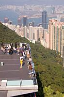 VICTORIA PEAK HONG KONG Peak Tower tram terminal terrace lookout Central midlevel buildings