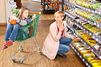 A mother and daughter shopping at the supermarket