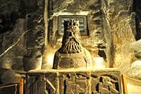 Sculptures made of salt by the miners in the Wieliczka Salt Mine (a UNESCO World Heritage site), Krakow, Poland