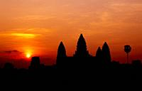 Silhouette of Angkor Wat at sunrise Siem Reap Cambodia