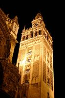 La Giralda bell tower Seville Cathedral at night