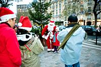 Paris, France, Christmas Celebrations, Children Meeting Santa Claus, Outside Street