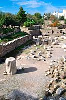 Turkey, Aegean sea, Bodrum, Ruins of the Mausoleum Bodrum Ancient Greek Halicarnassus Halicarnassos