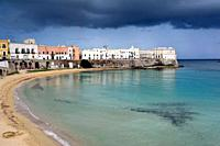 Stormy sky over the old town of Gallipoli, Puglia, Italy