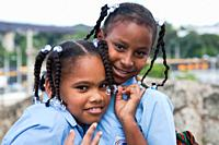 america, caribbean sea, hispaniola island, dominican republic, santo domingo town, schoolgirls