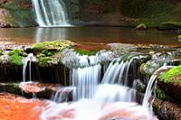 Pwll-y-Wrach Pool of the Witch Waterfall situated in Pwll-y-Wrach Nature Reserve, Talgarth, Powys, Wales