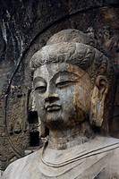 China,Henan Province,Luoyang,Buddhist sculpture at Longmen Grottoes