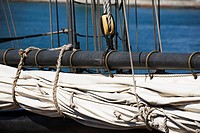 Close Up Of A Tall Ship's Sail And Pulley, Port Colborne, Ontario, Canada