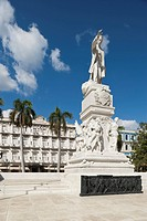 Statue Of José Martí Padres De La Patria With The Hotel Inglaterra In The Background, Havana, Cuba