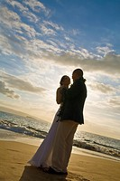 a bride and groom on a beach, maui, hawaii, united states of america