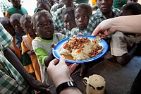 Children Being Served A Meal At School, Manica, Mozambique, Africa