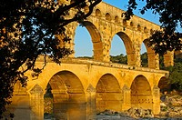 Pont du Gard Roman aqueduct at dawn, Gard, Languedoc-Roussillon, France