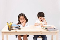 Girl and boy studying their homework at desk