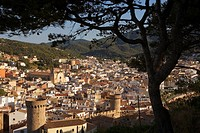 Tossa de Mar As seen from the old city Villa Vella  With Parochial church and towers of the old city wall Villa Vella Costa Brava  Girona province  Ca...