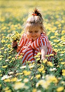 Five year old girl picking wildflowers